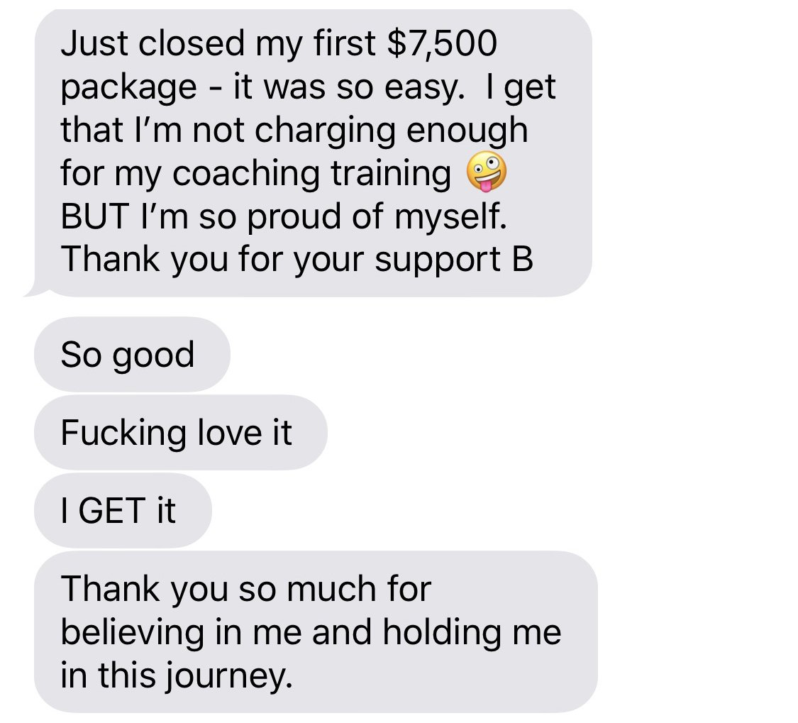 7500 coaching package + support